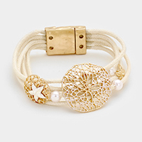 Faux Leather with Starfish, Pearl & Sand Dollar Magnetic Bracelet