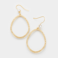 Textured Metal Uneven Shaped Teardrop with Stone Earrings