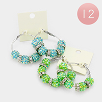 12-Pairs Crystal Disco Ball Bead Hoop Earrings