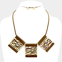 Triple Square Faux Leather decorated Hammered Metal Necklace