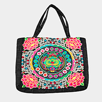 Embroidered oriental flower tote bag
