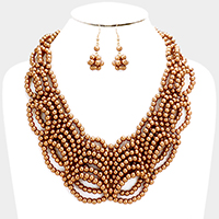 Resin Pearl Ball Bib Necklace