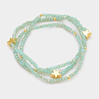 Faceted Beaded with Metal Star Stretch Bracelet / Choker Dual