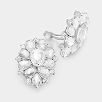 Pave Rhinestone Flower Clip-On Earrings