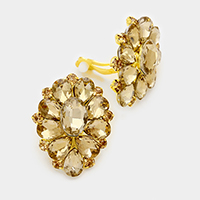 Pave Rhinestone Flower Clip On Earrings