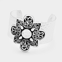 Floral Embossed Filigree Pattern Metal Cuff Bracelet