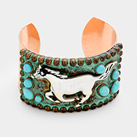 Running Horse with Turquoise Metal Cuff Bracelet