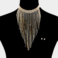 Fringe Cup Chain with Rhinestone Choker Necklace