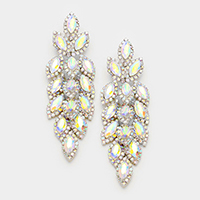 Crystal Stone Leaf Cluster Marquise Evening Earrings