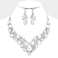 Glass Crystal Marquise Teardrop Cluster Evening Necklace