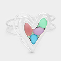 Sea Glass Multi Colored Pastel Heart Hinged Bracelet