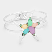 Sea Glass Multi Colored Pastel Starfish Hinged Bracelet