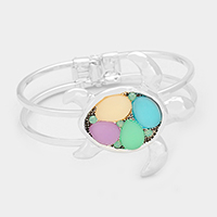 Sea Glass Multi Colored Pastel Turtle Hinged Bracelet