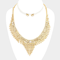 Curved Crystal Rhinestone Necklace