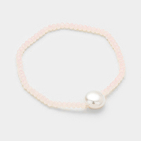 Faceted Bead with Pearl Stretch Bracelet