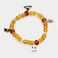 Faceted Bead with Witch Theme Charms Stretch Bracelet
