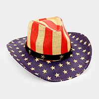 American flag _ straw cowboy fedora hat with star faux leather belt