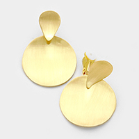 Bent Metal Round Clip on Earrings