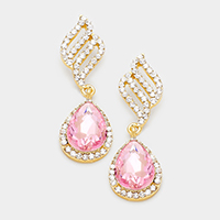 Crystal Rhinestone Note Shape Evening Earrings