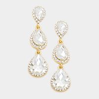 Pave Trim Triple Teardrop Glass Crystal Earrings