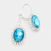 Pave Trim Glass Crystal Oval Earrings