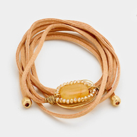 Natural Stone Wire Wrap Suede Bracelet / Necklace Dual