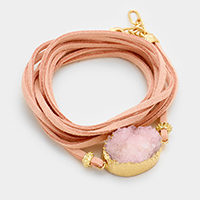 Suede Druzy wrap Bracelet / Necklace Dual