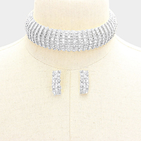 8 Lines Pave Rhinestone Choker Necklace
