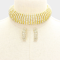 10 Lines Pave Rhinestone Choker Necklace