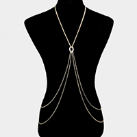 Oval Shaped Rhinestone Body Chain Necklace