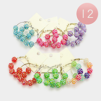 12 Pairs - Shamballa Beads Hoop Earrings