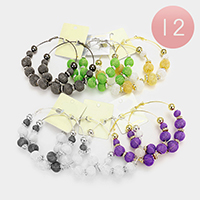 12 Pairs - Mesh Ball Hoop Earrings