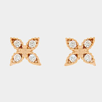 Cubic Zirconia Metal Stud Earrings