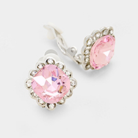 Pave trim glass crystal clip on earrings