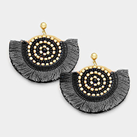 Thread Fan Shaped with Beaded Round Earrings