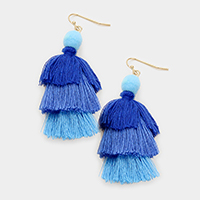 Tiny Pom Pom & Triple Layered Tassel Earrings