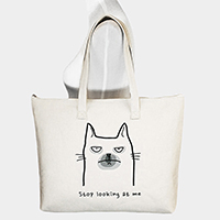 Stop looking at me _ Printed Dog Canvas Tote Bag