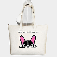 Cant stop looking at you _ Printed Dog Canvas Tote Bag