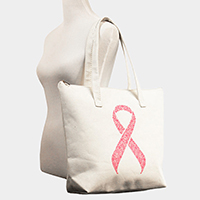 Printed Pink Ribbon Canvas Tote Bag