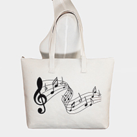 Printed The Treble Clef & Notes Canvas Tote Bag