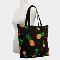 Printed Pineapple Canvas Tote Bag