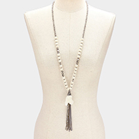 Beaded Druzy Stone Pendant with Suede & Bead Tassel Long Necklace