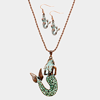 Textured Mermaid Pave Necklace
