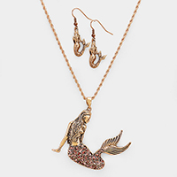 Hammered Rhinestone Pave Mermaid Pendant Necklace