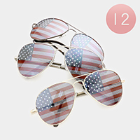 12 Pairs - American Flag Aviator Sunglasses