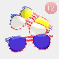 12 Pairs - American Flag Oversized Sunglasses