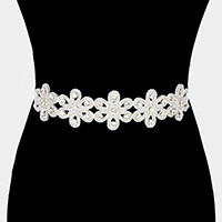 Floral Rhinestone Sash Ribbon Bridal Wedding Belt