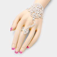 Marquise Rhinestone Floral Hand Chain Bracelet