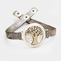 Faux Leather Hammered Metal Tree of Life Snap Button Bracelet