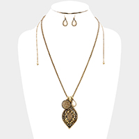 Embossed Pave Rhinestone Flower with Disc & Teardrop Necklace